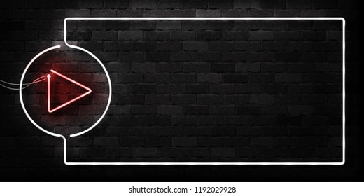Vector realistic isolated neon sign of Video Player frame logo for decoration and covering on the wall background. Concept of social media and movie studio.