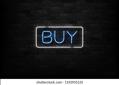 Vector realistic isolated neon sign of Buy button logo for decoration and covering on the wall background. Concept of e-commerce and marketing.