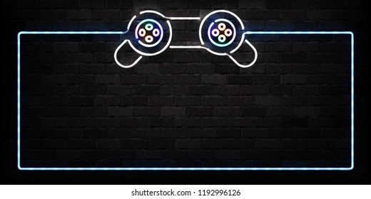 Vector realistic isolated neon sign of Controller frame logo for decoration on the wall background. Concept of game and computer leisure.