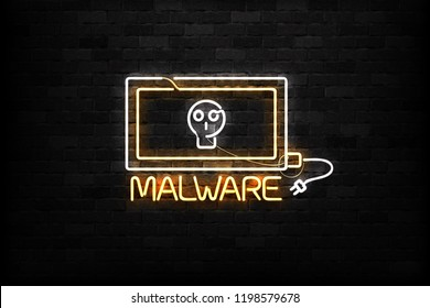 Vector realistic isolated neon sign of Malware logo for decoration and covering on the wall background.