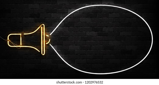 Vector realistic isolated neon sign of Megaphone frame logo for decoration and covering on the wall background. Concept of hiring, join us and cv.