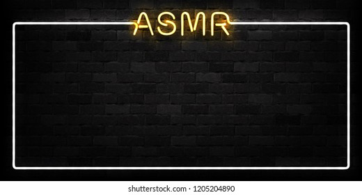 Vector realistic isolated neon sign of ASMR frame logo for decoration and covering on the wall background.