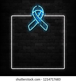 Vector realistic isolated neon sign of Blue Ribbon frame logo for decoration and covering on the wall background. Concept of November, Prostate cancer awareness month.