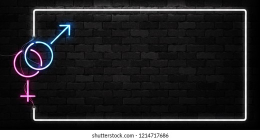 Vector realistic isolated neon sign of Sex logo for decoration and covering on the wall background.