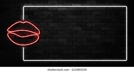 Vector realistic isolated neon sign of Lips frame logo for decoration and covering on the wall background.