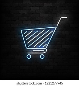Vector realistic isolated neon sign of supermarket shopping cart logo for decoration and covering on the wall background. Concept of Black friday, sale and online shopping.
