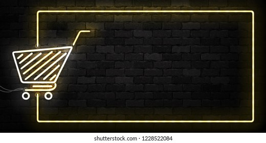 Vector realistic isolated neon sign of Supermarket Shopping Cart frame logo for decoration and covering on the wall background. Concept of Black friday, sale and online shopping.