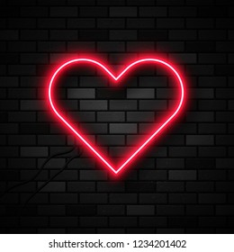 Vector realistic isolated neon sign of heart for decoration and covering on the brick wall background.