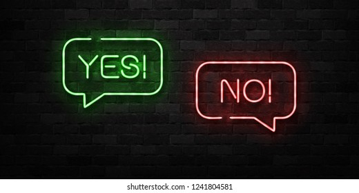Vector realistic isolated neon sign of Yes and No logo for decoration and covering on the wall background.