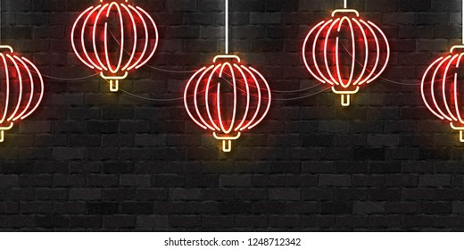 Vector realistic isolated neon sign of Chinese Lantern seamless pattern logo for decoration and covering on the wall background. Concept of Happy Chinese New Year.