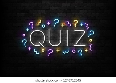Vector realistic isolated neon sign of Quiz logo for template decoration and covering on the wall background.