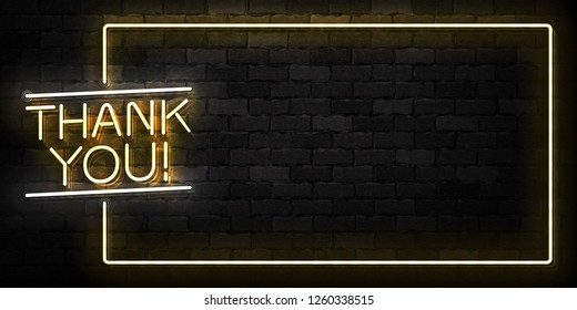 Vector realistic isolated neon sign of Thank You frame logo for template decoration and covering on the wall background.