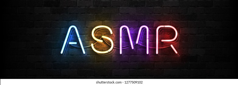 Vector realistic isolated neon sign of ASMR logo for template decoration and covering on the wall background.