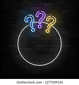 Vector realistic isolated neon sign of Quiz frame logo for template decoration and covering on the wall background.