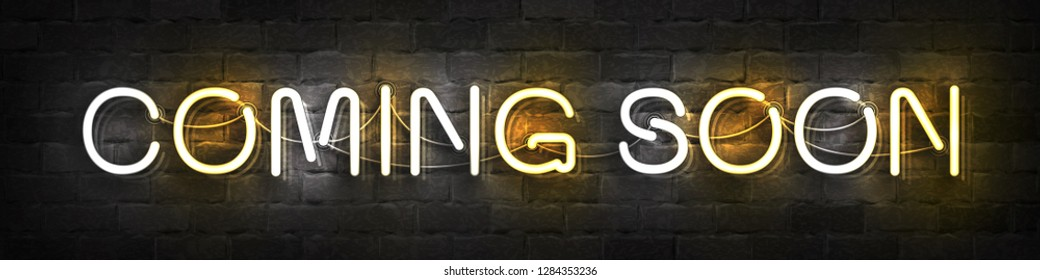 Vector realistic isolated neon sign of Coming Soon typography logo for template decoration and layout covering on the wall background.