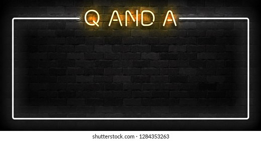 Vector realistic isolated neon sign of Q and A frame logo for template decoration and layout covering on the wall background. Concept of Questions and Answers.