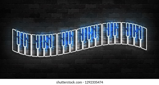 Vector realistic isolated neon sign of Piano logo for template decoration and covering on the wall background. Concept of music.