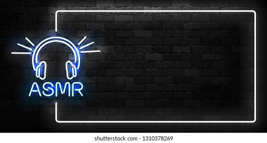 Vector realistic isolated neon sign of ASMR frame logo for template decoration and covering on the wall background.