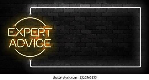 Vector realistic isolated neon sign of Expert Advice frame logo for template decoration and layout covering on the wall background.