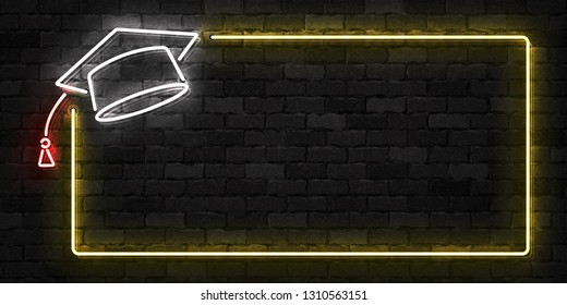 Vector realistic isolated neon sign of Graduation frame logo for template decoration and layout covering on the wall background.
