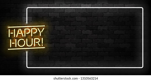 Vector realistic isolated neon sign of Happy Hour frame logo for template decoration and covering on the wall background. Concept of night club, free drinks, bar counter and restaurant.