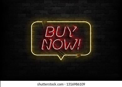Vector realistic isolated neon sign of Buy Now logo for template decoration and covering on the wall background. Concept of online shopping and e-commerce.