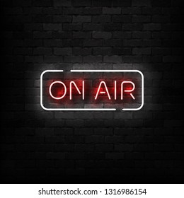 Vector realistic isolated neon sign of On Air logo for template decoration on the wall background. Concept of podcast and radio.