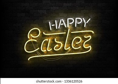 Vector realistic isolated neon sign of Happy Easter typography logo for template decoration and layout covering on the wall background.