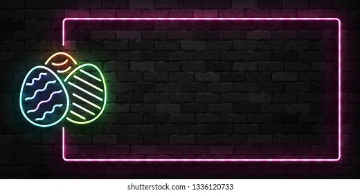 Vector realistic isolated neon sign of Easter Eggs frame logo for template decoration and layout covering on the wall background. Concept of Happy Easter.