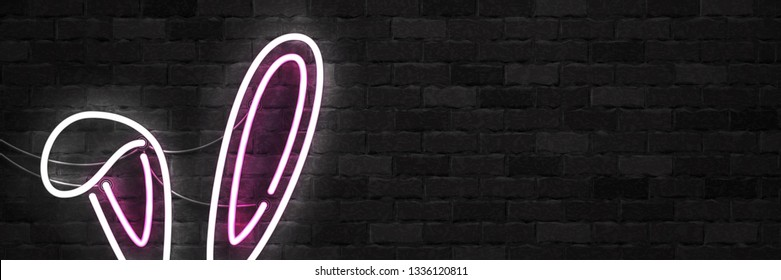 Vector realistic isolated neon sign of Bunny Ears flyer logo for template decoration and layout covering on the wall background. Concept of Happy Easter.
