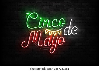 Vector realistic isolated neon sign of Cinco De Mayo typography logo for template decoration on the wall background. Concept of Viva Mexico.