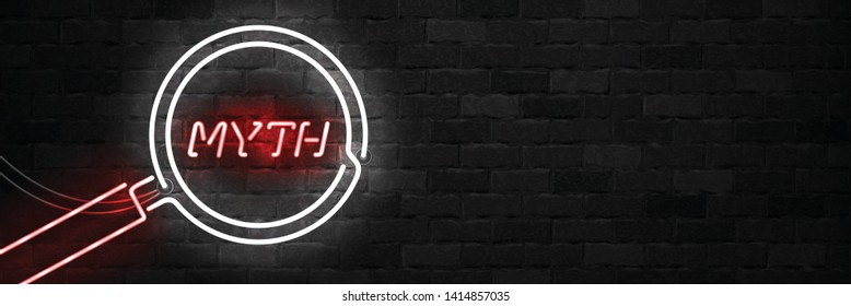 Vector realistic isolated neon sign of Myth logo with magnifying glass for template decoration on the wall background.