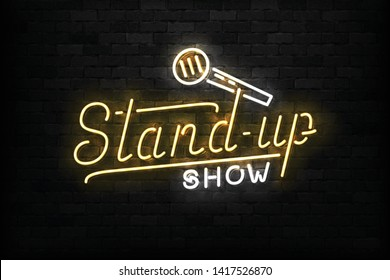 Vector realistic isolated neon sign of Stand Up Show logo for template decoration on the wall background. Concept of comedy and humor.