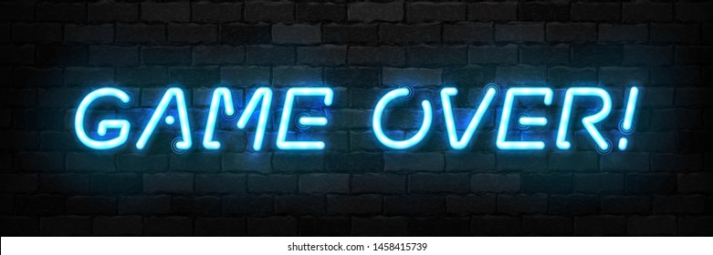 Vector realistic isolated neon sign of Game Over typography logo for template decoration and covering on the wall background. Concept of gaming.