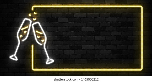 Vector realistic isolated neon sign of Champagne frame logo for template decoration and covering on the wall background. Concept of Merry Christmas and Happy New Year.