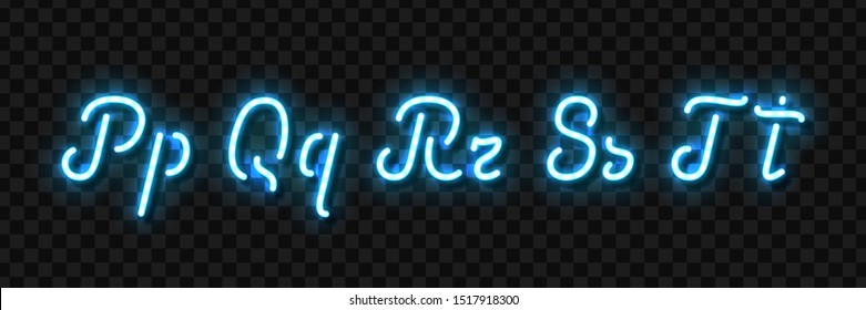 Vector realistic isolated neon sign of P, Q, R, S, T letters of typography alphabet font for template decoration and invitation covering on the transparent background.