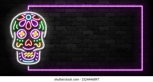Vector realistic isolated neon sign of Skull frame logo for template decoration and covering on the wall background. Concept of Dia De Los Muertos, Day of the Dead, Happy Halloween in Mexico.