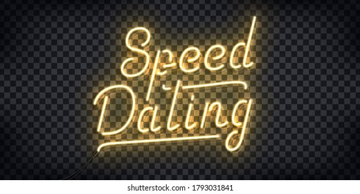 Vector realistic isolated neon sign of Speed Dating logo for invitation decoration and template covering on the transparent background.