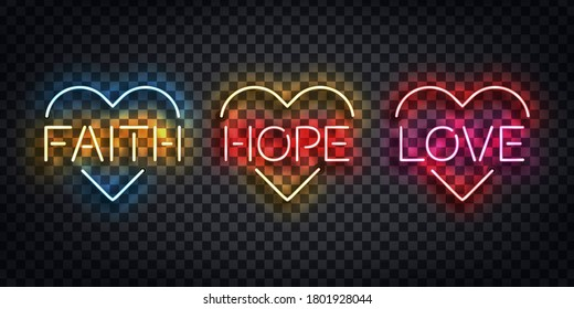Vector realistic isolated neon sign of Faith, Hope and Love logo for template decoration and layout covering on the transparent background. Concept of Happy Easter and Christianity.