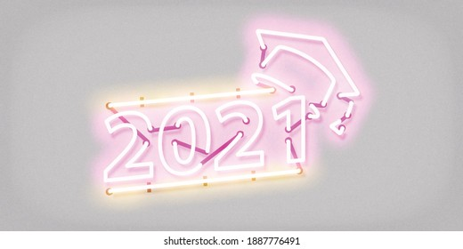 Vector realistic isolated neon sign of Graduation 2021 logo for invitation covering on the white background.