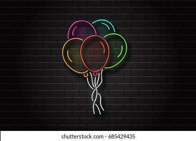 Vector realistic isolated neon sign of balloons for celebration and decoration on the wall background. Concept of happy birthday, anniversary and wedding.