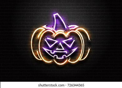 Vector realistic isolated neon sign of Halloween spooky pumpkin for decoration and covering on the wall background. Concept of Happy Halloween.