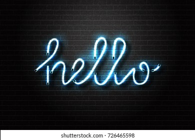 Vector realistic isolated neon sign of Hello lettering for decoration and covering on the wall background.