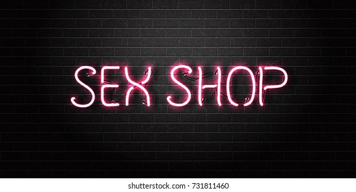 Vector realistic isolated neon sign of pink Sex Shop text for decoration and covering on the wall background.