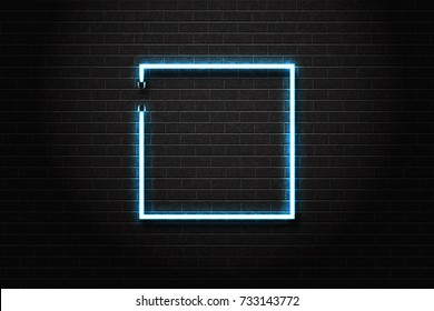 Vector realistic isolated neon sign of square blue frame for decoration and covering on the wall background.