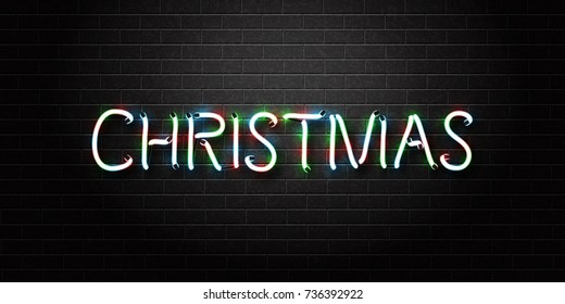 Vector realistic isolated neon sign of Christmas lettering for decoration and covering on the wall background. Concept of Merry Christmas and Happy New Year.