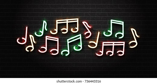 Vector realistic isolated neon sign of notes for decoration and covering on the wall background. Concept of music, jazz and dj.