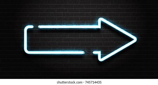 Vector realistic isolated neon sign of arrow for decoration and covering on a dark brick wall background.