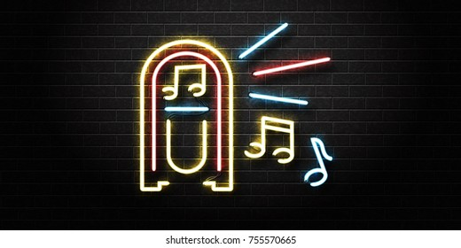 Vector realistic isolated neon sign of jukebox for decoration and covering on the wall background. Concept of music, dj and concert.