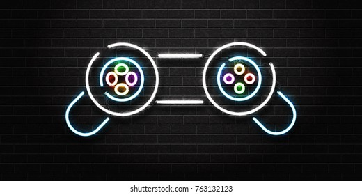 Vector realistic isolated neon sign of controller for decoration on the wall background. Concept of game and computer leisure.